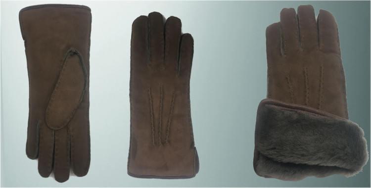 Gants chauds mouton retourné cousu main bord roulotté cuir intérieur laine peignée marron taupe