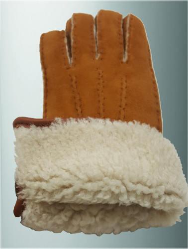 Gants naturel chauds mouton retourné, intérieur laine bouclée blanche, cousu main bord roulotté cuir