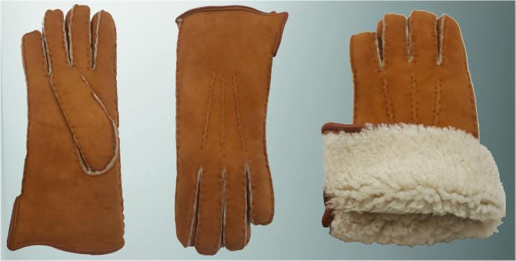 Gants chauds mouton retourné cousu main bord roulotté cuir intérieur laine peignée naturel.