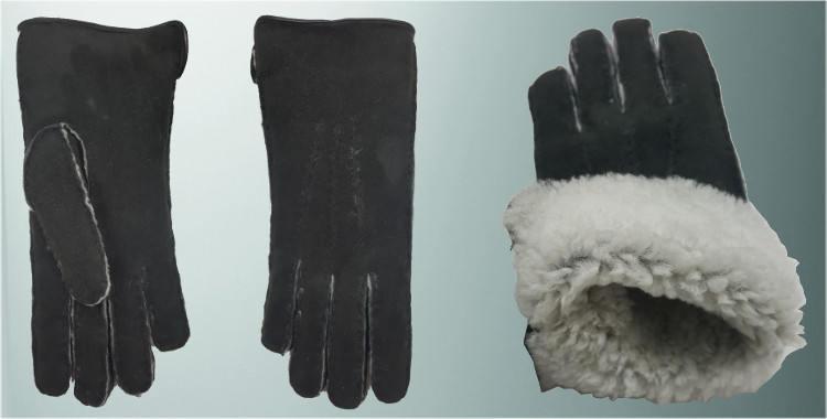 Gants chauds mouton retourné cousu main bord roulotté cuir intérieur laine peignée noir