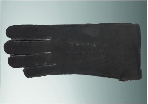 Gant mouton retourné en cousu main noir laine blanche bord roulotté cuir