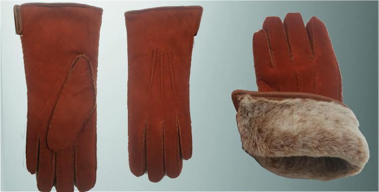 Gants chauds mouton retourné cousu main bord roulotté cuir intérieur laine peignée orange brulée