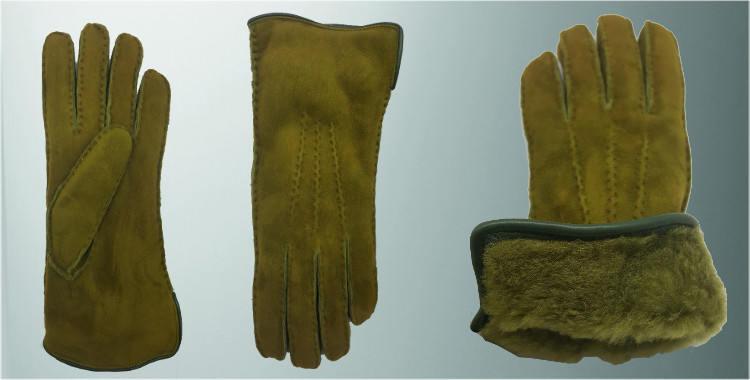 Gants chauds mouton retourné, cousu main, bord roulotté cuir, intérieur laine peignée vert