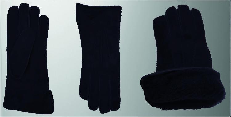 gants chauds mouton retourné couture cousu main laine peignée teinte bord roulotté cuir marine bleu