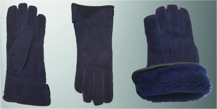Gants chauds mouton retourné cousu main bord roulotté cuir intérieur laine peignée bleu
