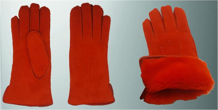 Gants chauds mouton retourné cousu main bord roulotté cuir intérieur laine peignée orange vif