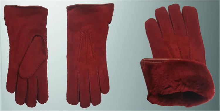 Gants mouton retourné cousu main bord roulotté cuir laine peignée rouge bordeaux aspect daim