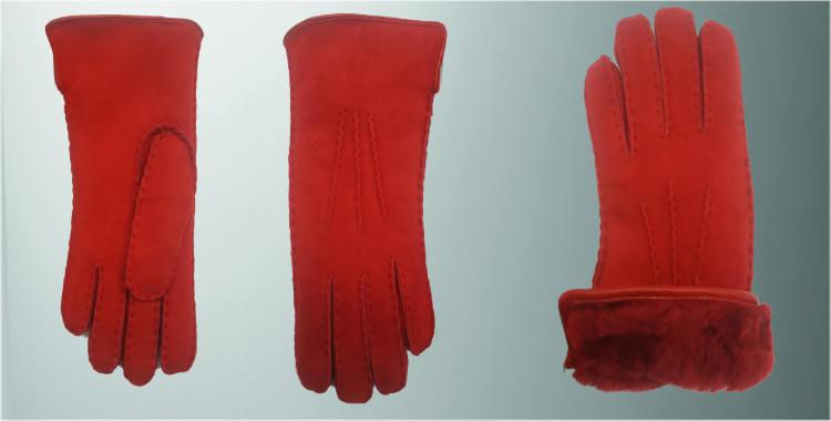 Gants chauds mouton retourné cousu main bord roulotté cuir intérieur laine peignée rouge vif