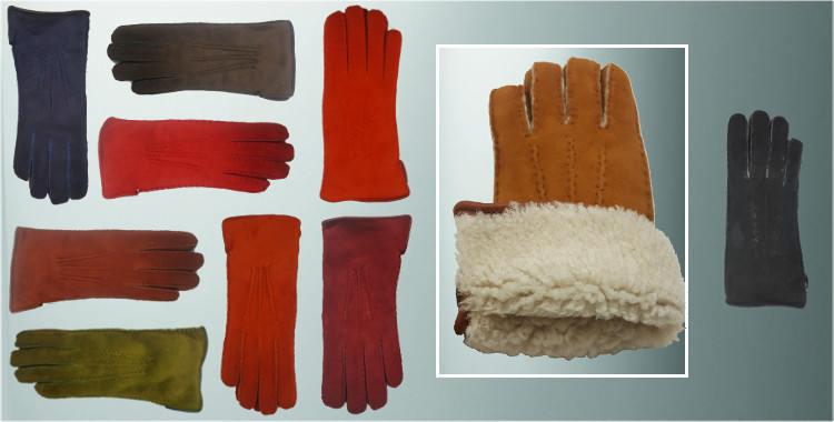 Gants chauds mouton retourné cousu main bord roulotté cuir intérieur laine boucée ou peignée