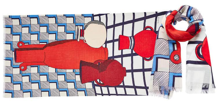 Foulards Inouitoosh, en coton, représente des poteries, dans un style grahique, coloris en rouge.