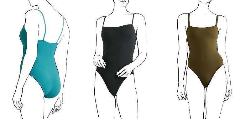 maillot de bain, Aquarelle, une pièce Eres 2019, décolleté droit, fines bretelles.