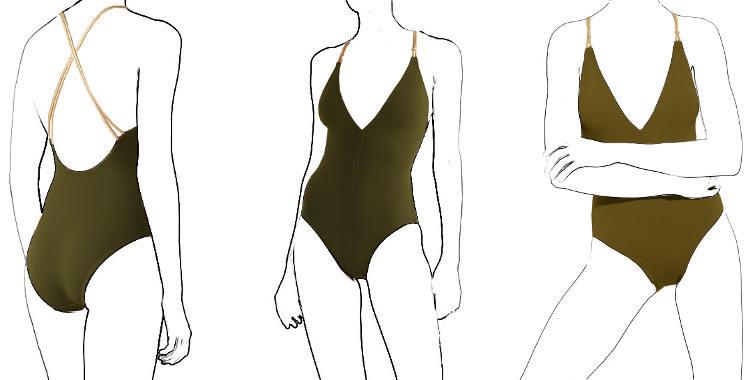 maillot Eres 2019 une pièce décolleté V, bretelles dorées, modèle Blondi.