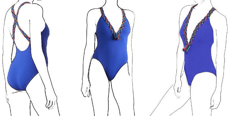maillot de bain une pièce Eres 2019, décolleté V, tressé multicolore, modèle Muchacha.