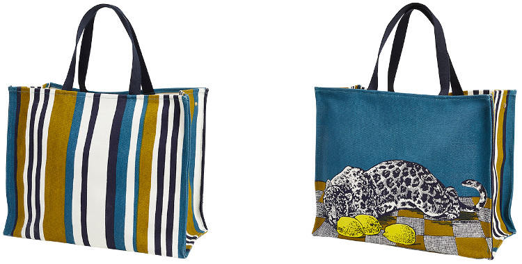 Ce sac inouitoosh en coton imprimé représente une panthère et des citrons sur un damier jaune et blanc.