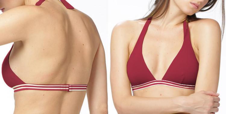 Soutien gorge de maillot Dnud 2019, fines rayures blanches, forme triangle, attache derrière le cou, rouge.