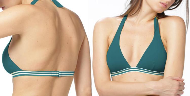 Soutien gorge de maillot Dnud 2019, fines rayures blanches, forme triangle, attache derrière le cou, vert.