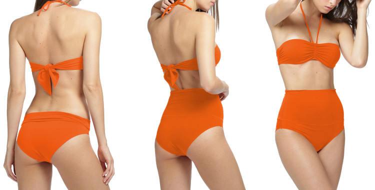 maillot 2 pièces Dnud 2019 culotte montante bandeau orange.