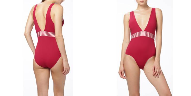 Maillot de bain, une pièce, Dnud 2019, décolleté en V, bretelles sur les épaules, modèle Vibes, en coloris rouge babylon.