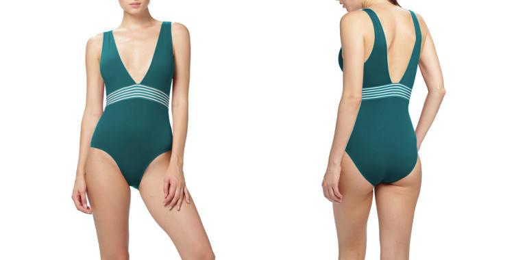 Maillot de bain, une pièce, Dnud 2019, décolleté en V, bretelles sur les épaules, modèle Vibes, en coloris vert Trianon.