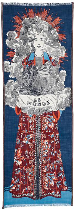écharpe, laine, Inouitoosh 2019, Le Monde, bleu.