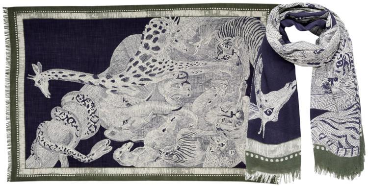 foulard laine, inouitoosh hiver 2019, l'arche de Noé, bleu.