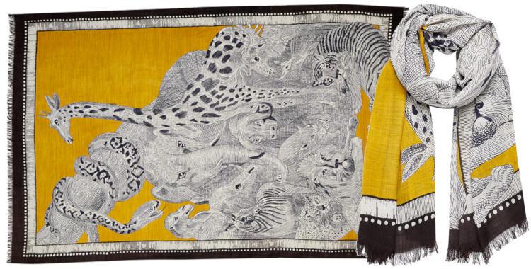 foulard laine, inouitoosh hiver 2019, l'arche de Noé, jaune .