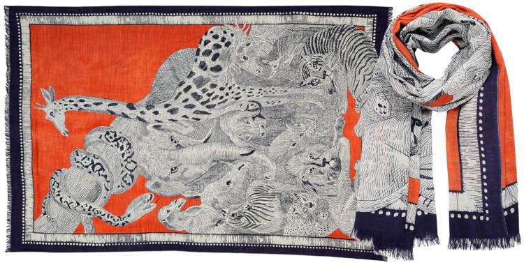 foulard laine, inouitoosh hiver 2019, l'arche de Noé, orange.