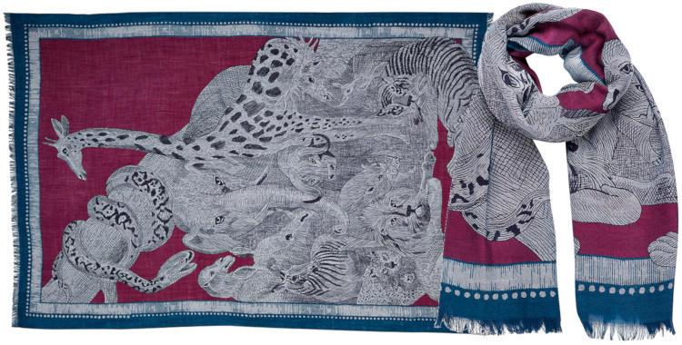 foulard laine, inouitoosh hiver 2019, safari photo, animaux, violet.