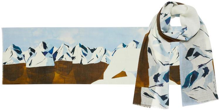 foulard bleu laine, inouitoosh hiver 2019, l'ours blanc sur la banquise.