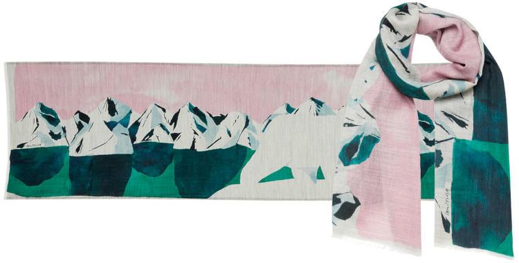 foulard vert laine, inouitoosh hiver 2019, l'ours blanc sur la banquise.