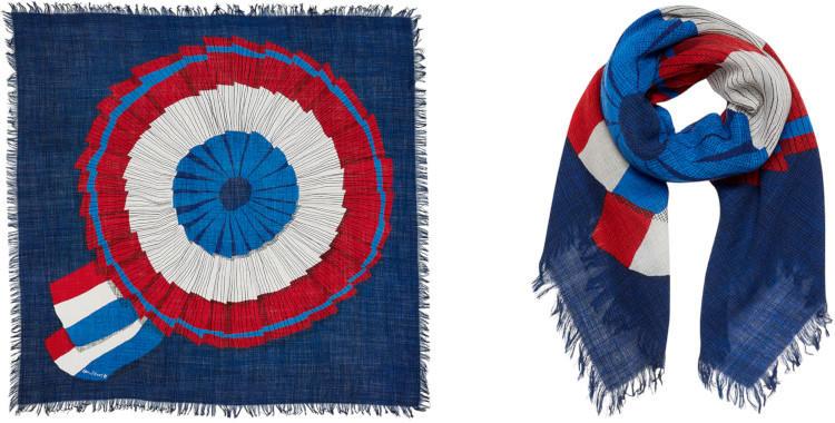foulard bleu, laine, la cocarde tricolore, inouitoosh hiver 2019.