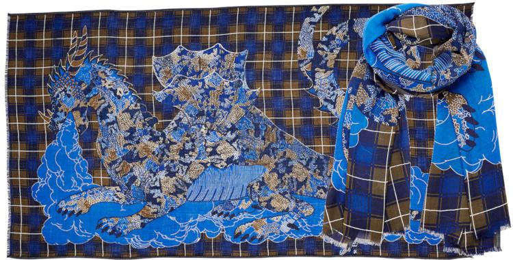 foulard laine, inouitoosh hiver 2019, dragon et tartans, bleu et kaki.