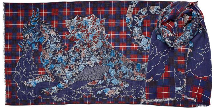 foulard laine, inouitoosh hiver 2019, dragon et carreaux, bleu et rouge.