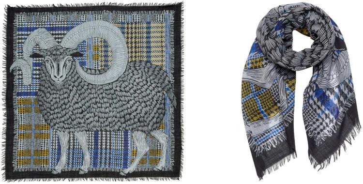 foulard, laine, grand carré, mouton, belier, noir