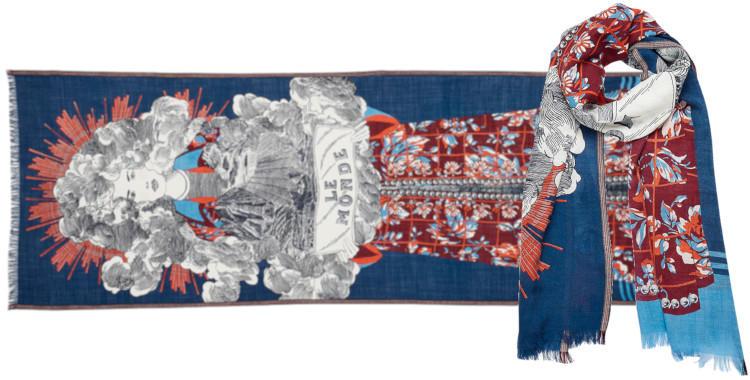 foulard laine et soie, inouitoosh hiver 2019, femme, le monde, bleu.