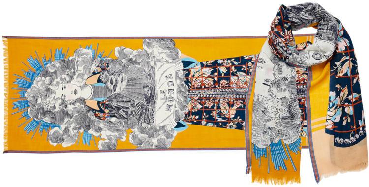 foulard laine et soie, inouitoosh hiver 2019, femme, le monde, jaune.