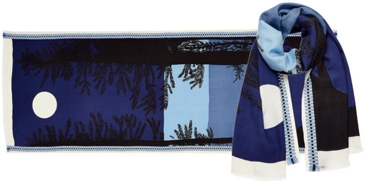 foulard laine, inouitoosh hiver 2019, forêt de sapins, lever de soleil, marine.