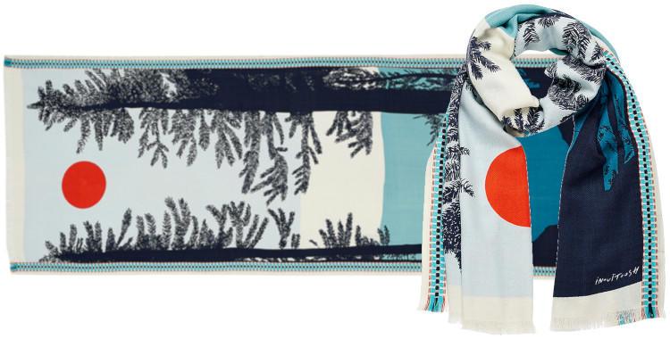 foulard laine, inouitoosh hiver 2019, forêt de sapins, coucher de soleil, bleu.