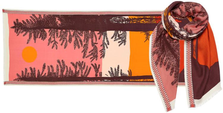 foulard laine, inouitoosh hiver 2019, forêt de sapins, coucher de soleil, orange.