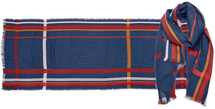 foulard laine, inouitoosh hiver 2019, rayures, pied-de-poule, bleu.