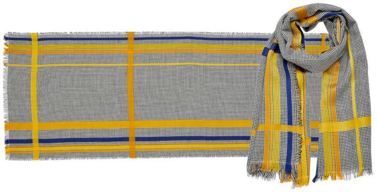 foulard laine, inouitoosh hiver 2019, rayures, pied-de-poule, noir.