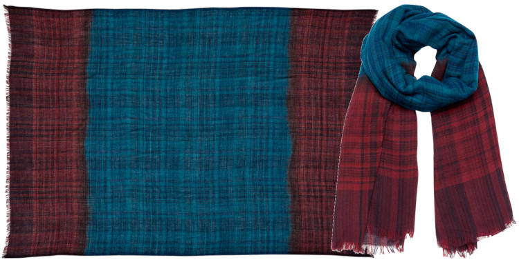 foulard laine, inouitoosh hiver 2019, oversize, carreaux, violet et vert.