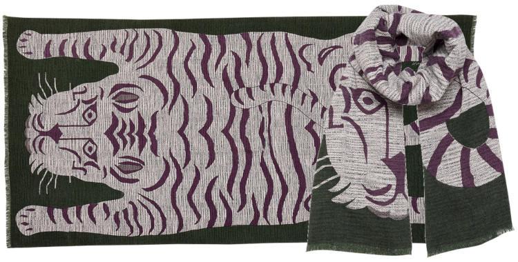 foulards en laine et polyamide, Inouitoosh hiver 2019, peau de bête, kaki.