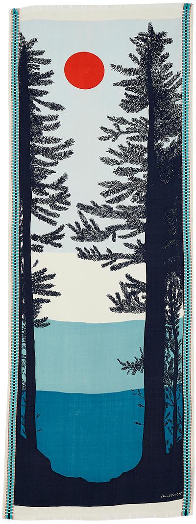 foulard laine, inouitoosh hiver 2019, Mont-blanc, lever ou coucher de soleil, bleu.
