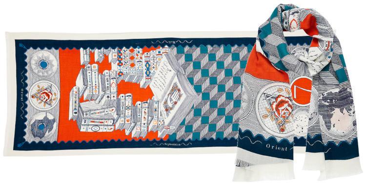 foulard laine et cachemire, inouitoosh hiver 2019, des livres et des symboles, orange et bleu