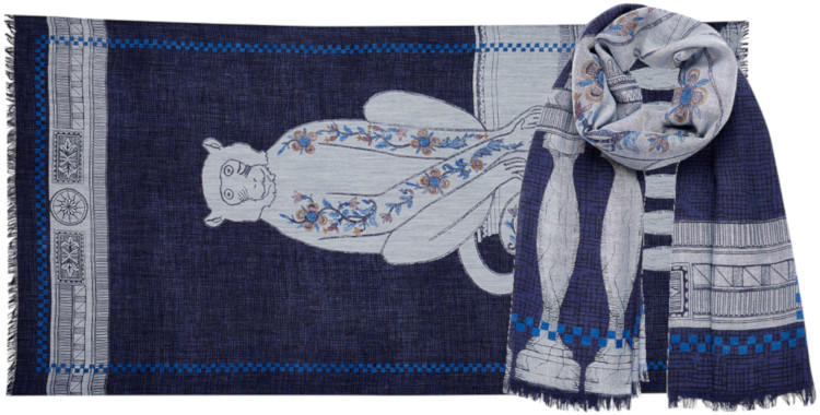 foulard laine, inouitoosh hiver 2019, le singe, bleu.
