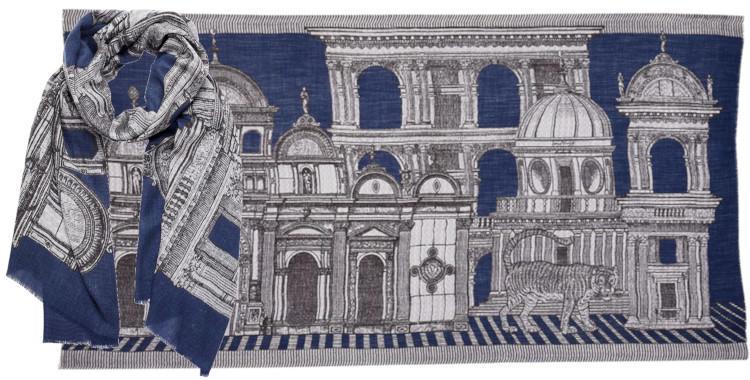foulard, Inouitoosh hiver 2019, un tigre dans une cité Renaissance, bleu.