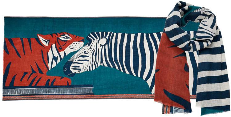 foulard laine, Inouitoosh hiver 2019, un tigre, un zèbre, coloris bleu canard .