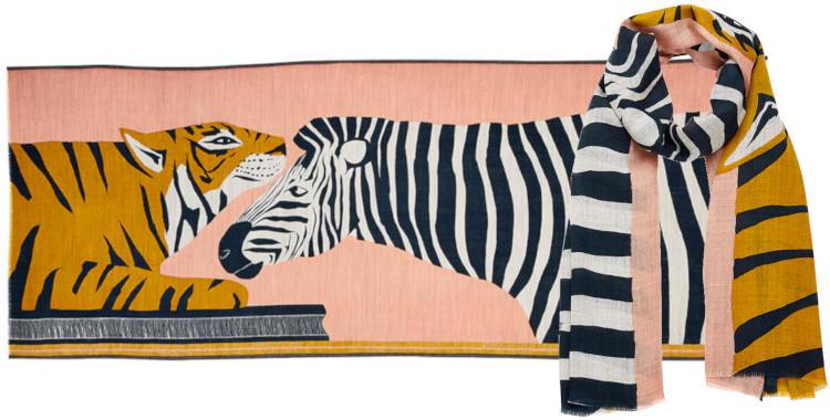 foulard Inouitoosh hiver 2019, un tigre, un zèbre, coloris vieux rose.