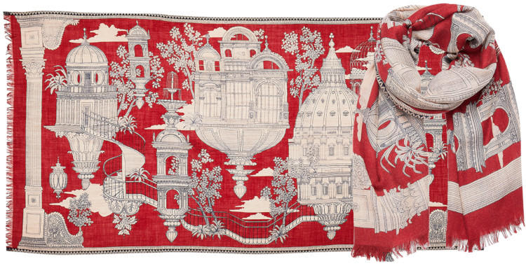 Foulard laine Inouitoosh hiver 2019 Cité dans les nuages, rouge